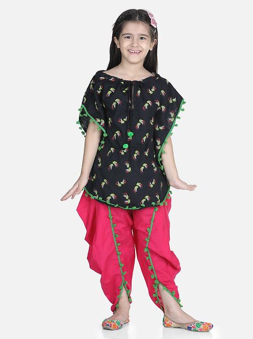 Bow N Bee Cotton Kaftan Dhoti Set for Girls in Pink