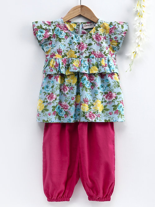 Bow N Bee Girls Ruffle Cotton Top With Harem Pant in Pink