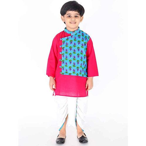 Kid1 Boys Radhe Krishna kurta pyjama in Blue pink