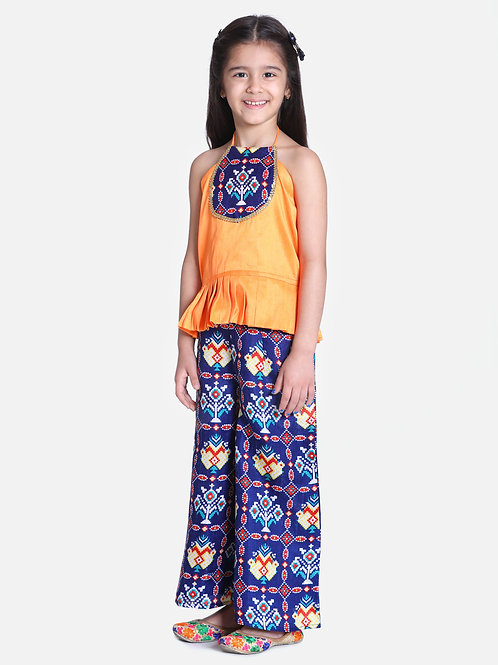 Bow N Bee Patan Patola Grecian Neck with Palazzo in Blue