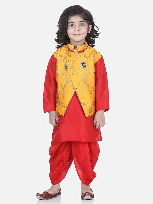 Bow N Bee Attached Jacket Jacquard Yellow Dhoti Kurta