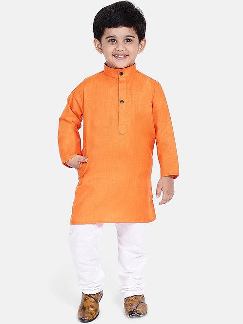 Kidswear Bow n Bee Boys Stand Collar Cotton Kurta pajama in Orange