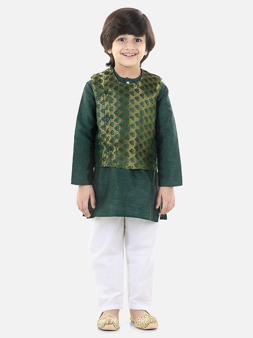 Jacquard Jacket Kurta Pajama 3 Piece Set in Green