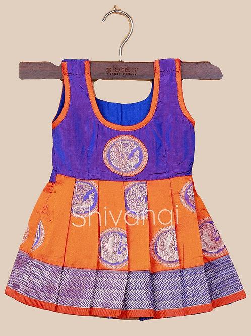 Shivangi Silk Peacock Baby Frock in Orange
