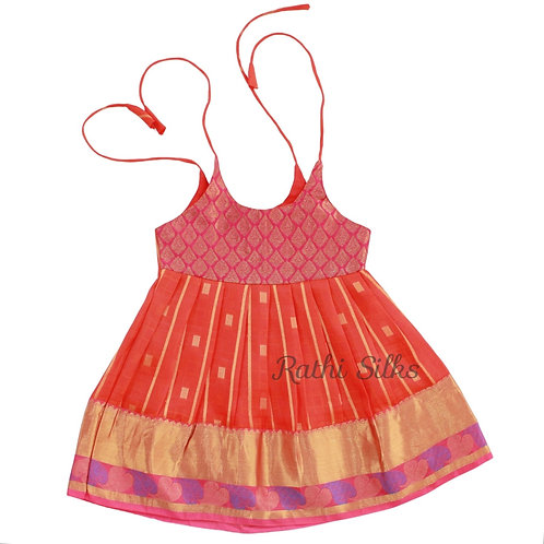 Pure Mix Shoulder Knot Baby Frocks in Orange Red