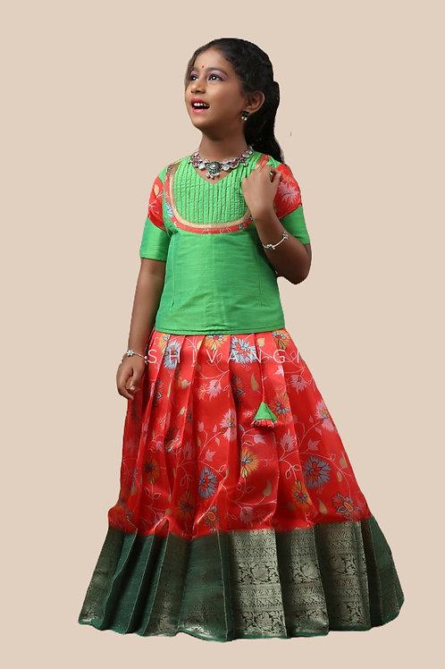 Shivangi Girls Organza Floral Creeper Pattupavadai
