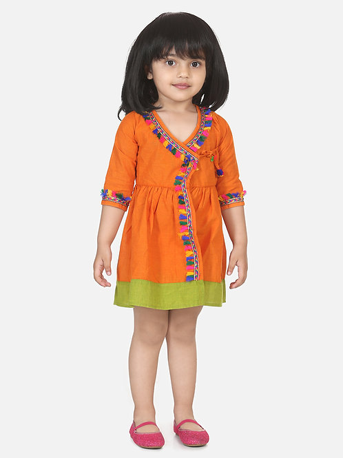 Bow N Bee Girls Cotton Front Open Full Sleeve Frock in Orange
