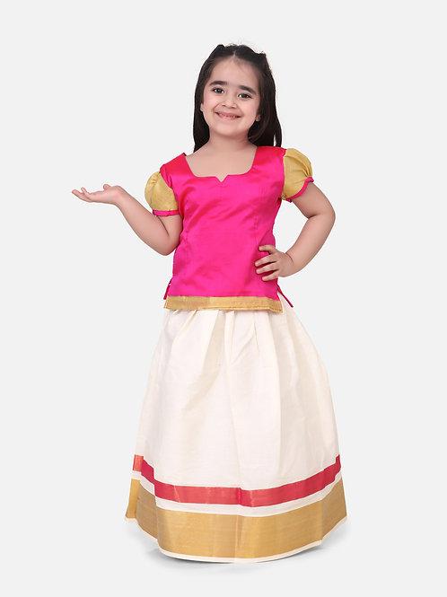 Kidswear Girls Bow n Bee Pink Indian Pavada Pattu Lehenga