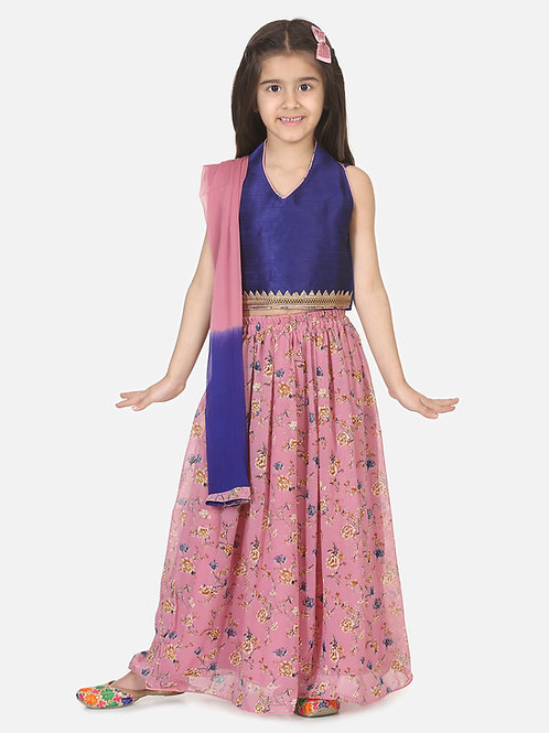 Bow N Bee Girls Halter Neck Floral Lehenga in Pink