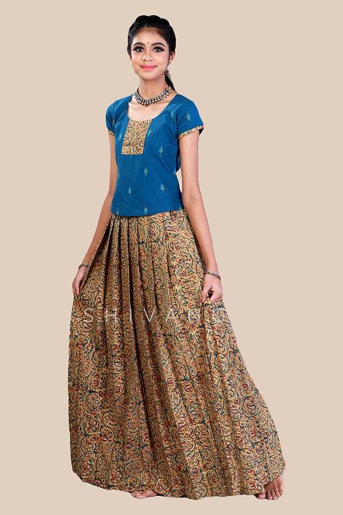 Shivangi Girls Kalamkari floral Cotton Pavadai Set !!! – AN92PGR