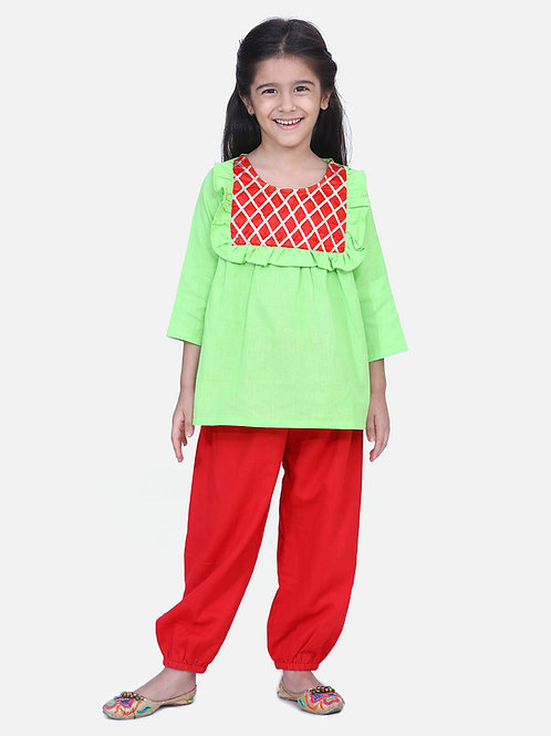 Bow n Bee Girls Indo western Top with Harem Pants in Green