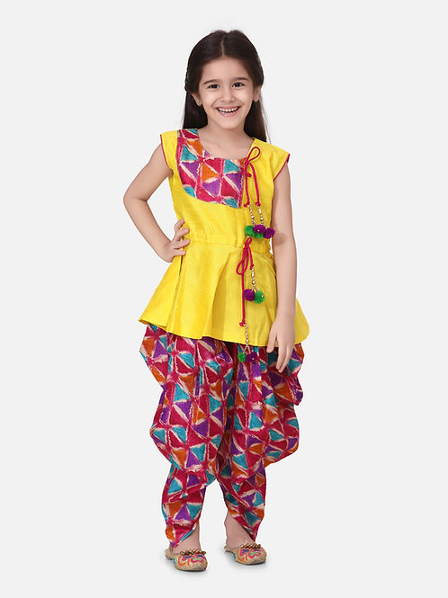 Bow N Bee Girls Triangle Print Patch Peplum dhoti  in Yellow