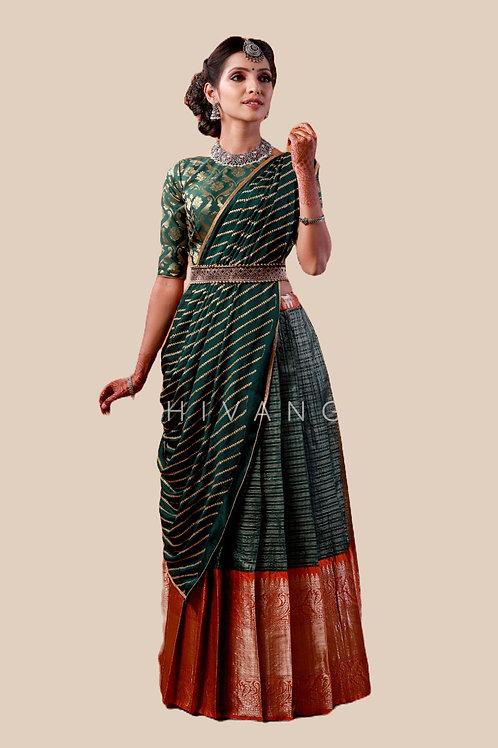 Shivangi Girls Floral Mango Half Saree   Langa Voni !!! – AN14GR