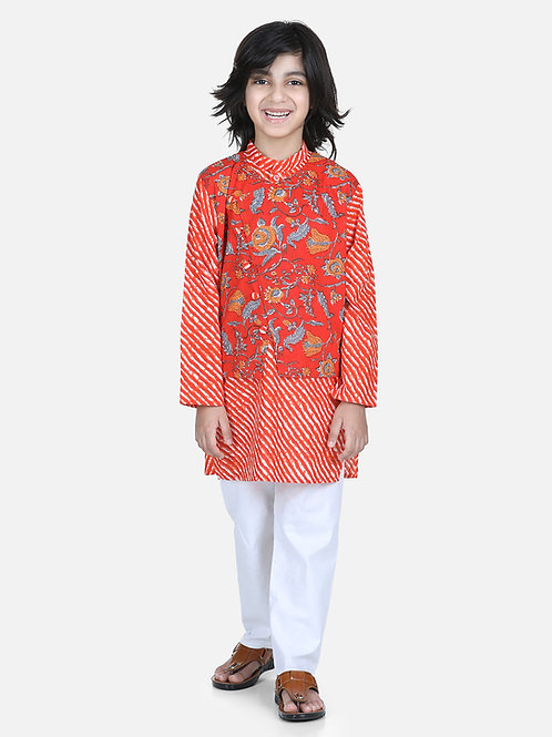 Bow n Bee Attached Jacket Kurta Pajama for Boys in Orange