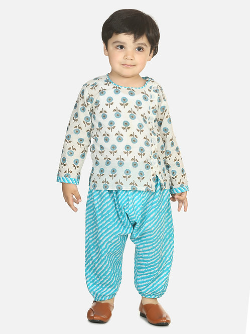 Bow n Bee Boys Front Open Cotton Kurta With Harem in Blue