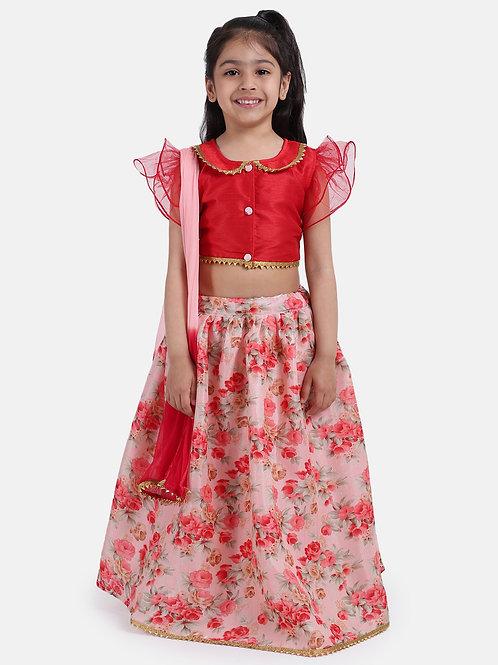 Bow N Bee Ruffle Sleeve Collar Choli With Floral Lehenga in Red