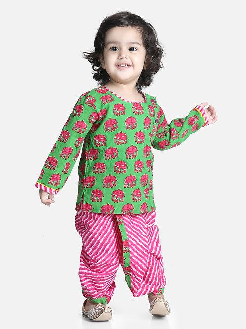Bow N Bee Hathi Print Green Infant Cotton Dhoti kurta