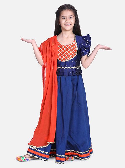 Kidswear Girls Bow n Bee Blue Taffeta Booti Patch Lehenga Choli