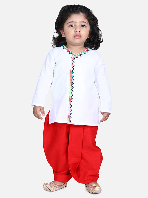 Bow n Bee Boys White Front Open Embroidered Kurta Dhoti
