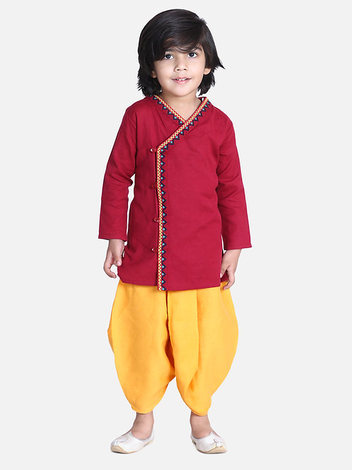 Bow n Bee Boys Red Front Open Embroidered Kurta Dhoti