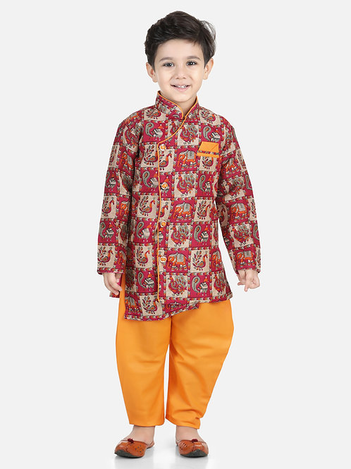 Bow N Bee Mor Print Full Sleeve Sherwani Dhoti in Orange