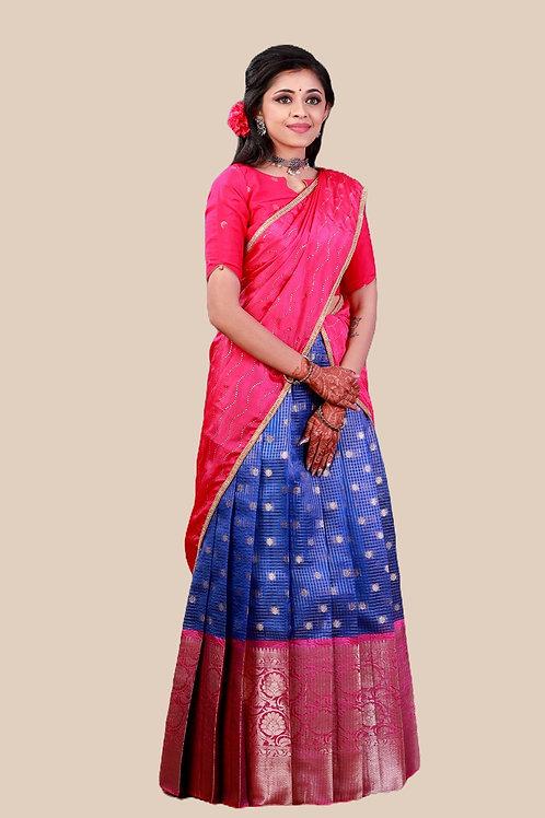 Shivangi Girls Checks Zinniah Half saree !!! – AN17BU