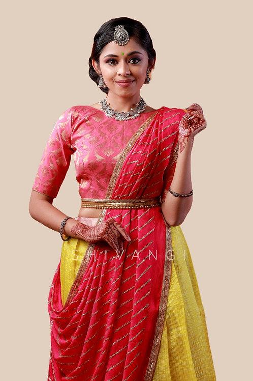 Shivangi Girls Floral Mango Half Saree   Langa Voni !!! – AN14YL