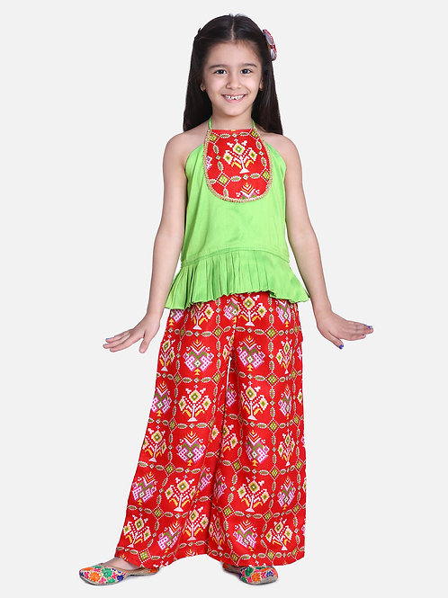 Bow N Bee Patan Patola Grecian Neck with Palazzo in Red