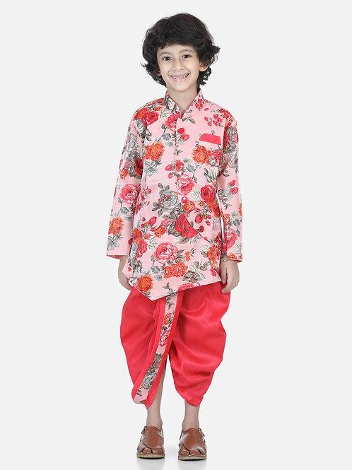 Bow N Bee Printed Sherwani Pink Dhoti Set for Boys