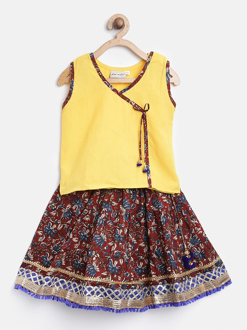 Bow N Bee Girls Sanganeri Print Cambric cotton set in Maroon
