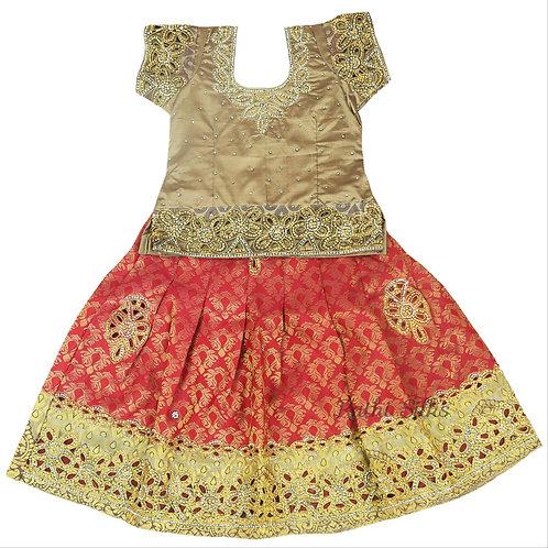 EMB Pure Silk pattu pavadai   Lehenga for girls in Red