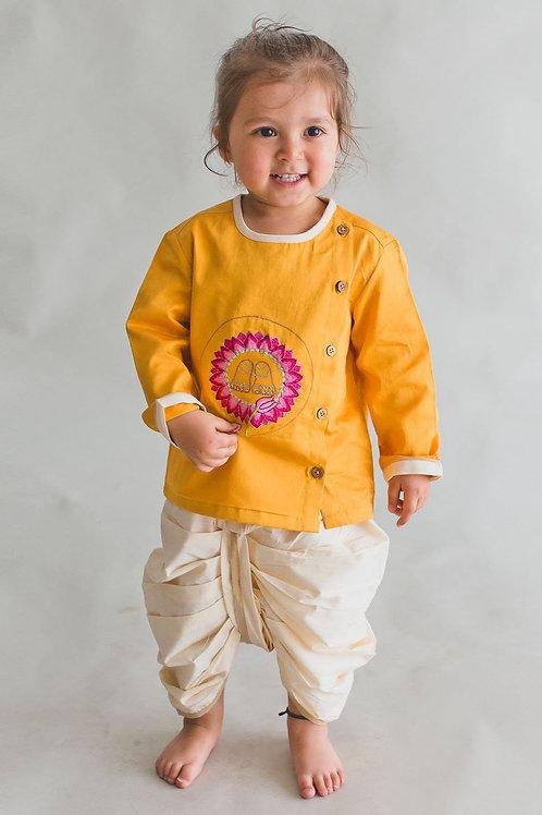 Tiber Taber Baby Boy Mustard Krishna Lotus Feet Dhoti Set