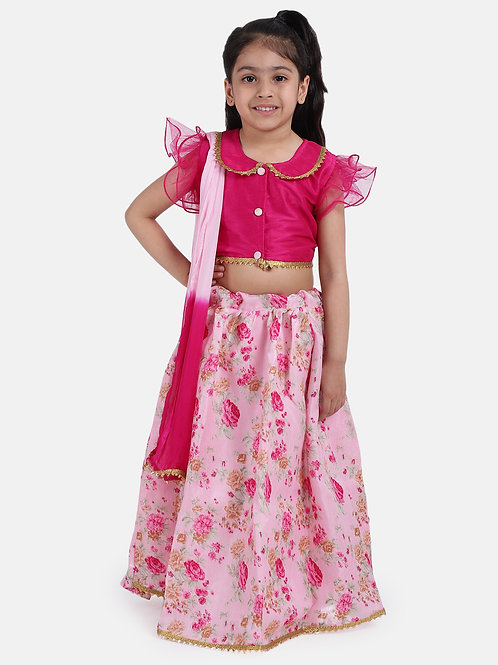 Bow N Bee Ruffle Sleeve Collar Choli With Floral Lehenga in Pink