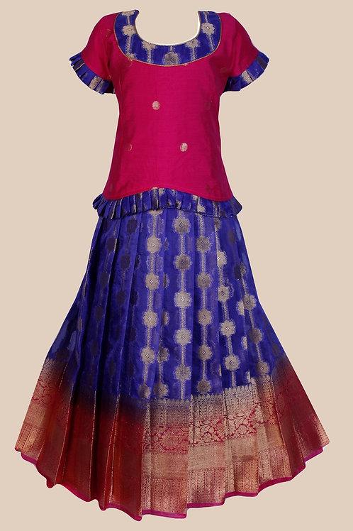 Shivangi Girls Banarasi Pattu Pavadai- !!AM49BU