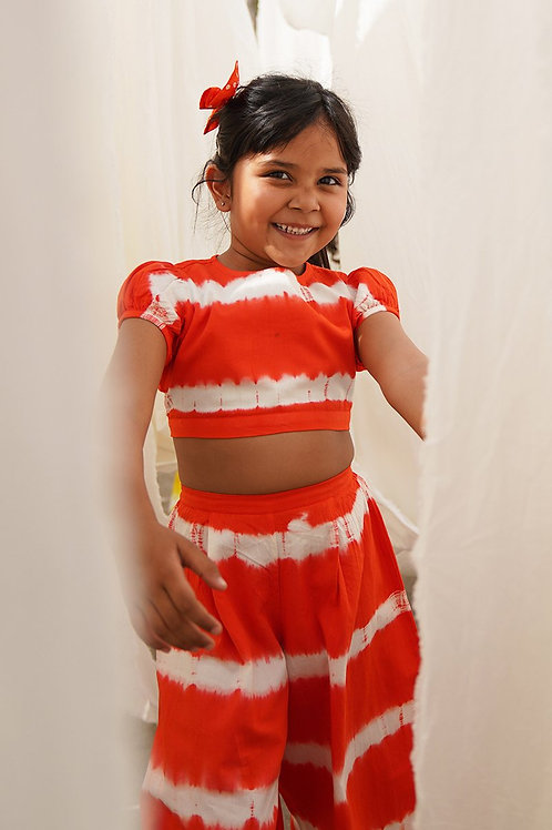 Tiber Taber Baby Girls Orange Stripe Top Set