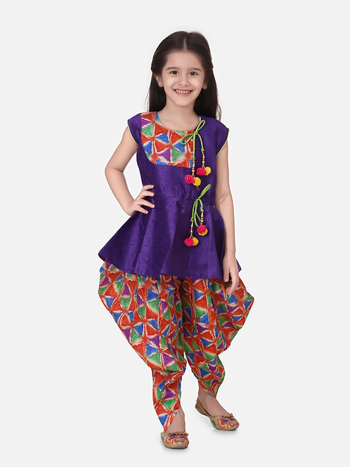 Bow N Bee Girls Triangle Print Patch Peplum dhoti  in Purple
