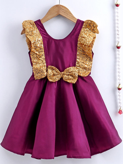 Bow N Bee Girls Purple Sequin Frill Silk Party Frock