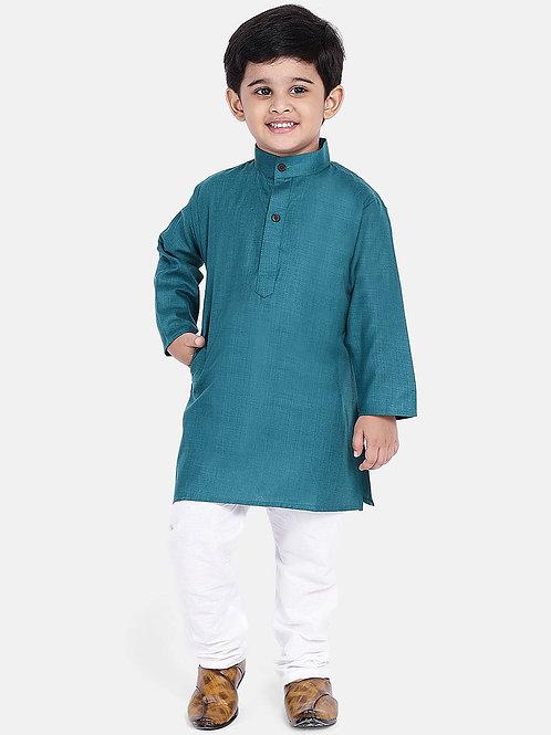 Kidswear Bow n Bee Boys Stand Collar Cotton Kurta pajama in Blue