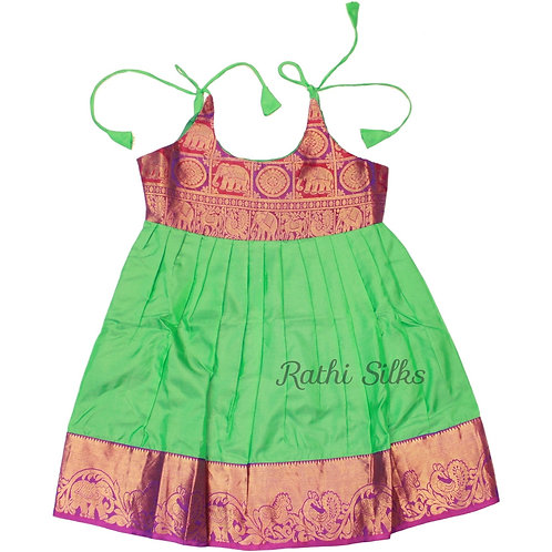 Pure Silk Shoulder Knot Baby Frocks in Green for 4 years