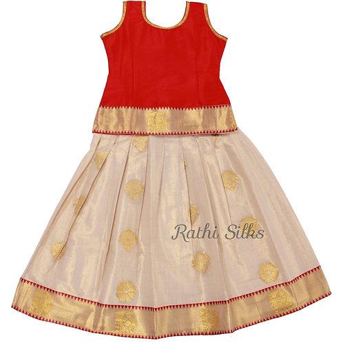 Rathi Girls Kerala pattu pavadai   Lehenga in Red