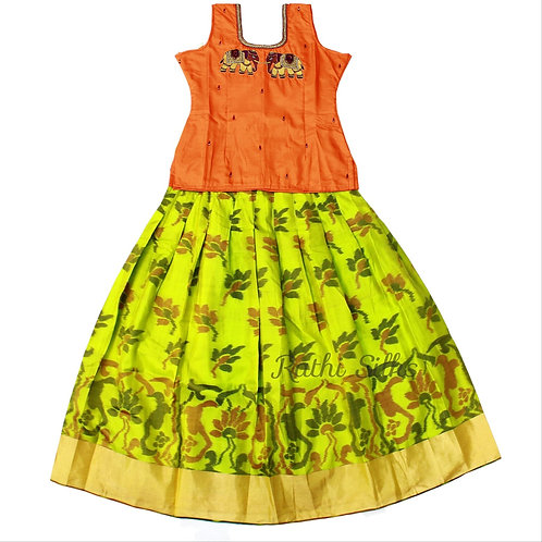 EMB Pure Silk pattu pavadai   Lehenga for girls in Green