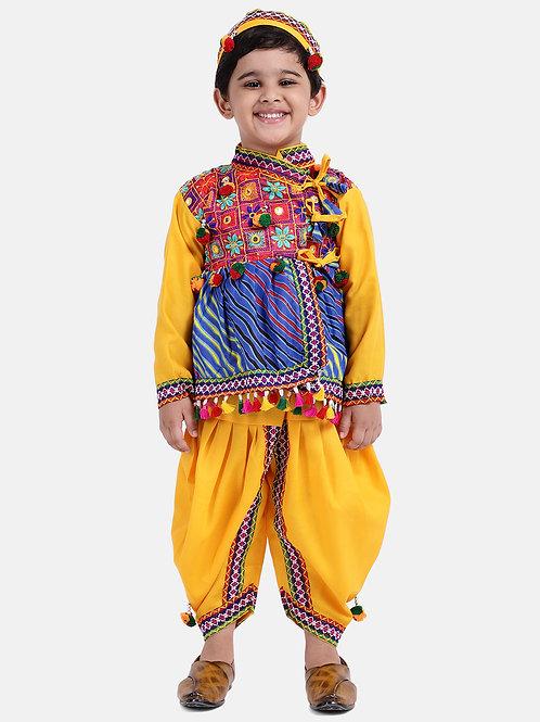Bow N Bee Full Sleeve Bandhani Kedia Dhoti in Mustard Yellow
