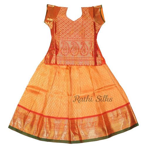Pure Silk pattu pavadai | Lehenga for girls in orange
