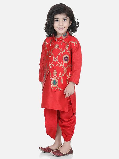 Bow N Bee Attached Jacket Jacquard Red Dhoti Kurta