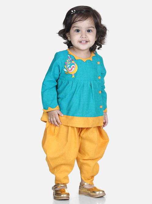 Bow N Bee Mor Embroidery Top Green Dhoti For Girls