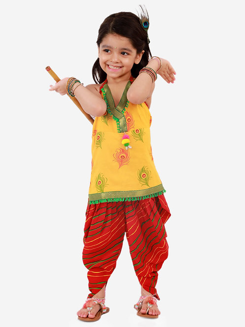 Girls Janmashtami Krishna Kurti Dhoti in Yellow