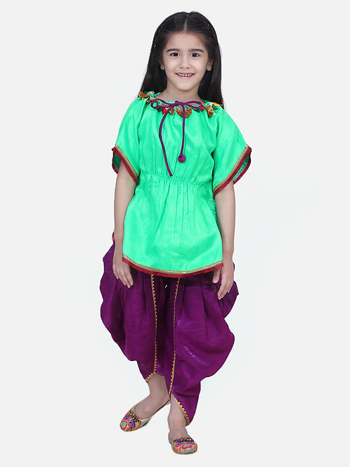 Bow n Bee Green Festive Kaftan Dhoti For Girls