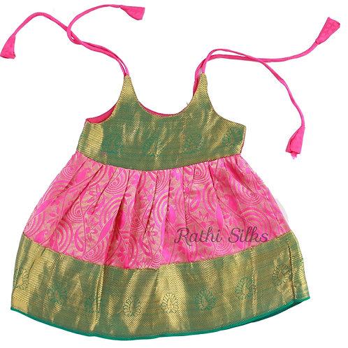 Pure Silk Shoulder Knot Designer Baby Frocks in Pink