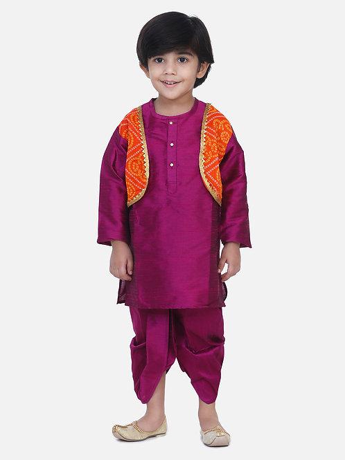 kidswear Boys Bow n Bee Attached Purple Jacket Bandhani Dhoti Kurta