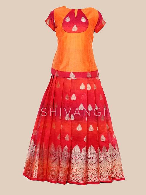 Shivangi Girls Lotus bud Pattu Pavadai